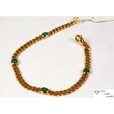 Classique Bracelet En 585 or Avec 4 Smaragden