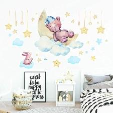 onetoze Stickers Muraux Ours étoiles et Lapin