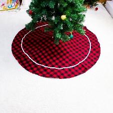 Jupe Sapin En Feutre 120cm Grille Rouge Et Noire Tablier Sapin En Tricot Décorations De Noël - Alxx21sdzs0827a055