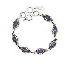 Armband 925 sterling zilver amethist paarse steen