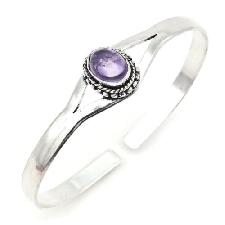 Armband verzilverd amethist paarse steen