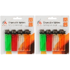 8x Wegwerp aansteker gekleurd 8 cm - Sigaretten aanstekers - Wegwerpaanstekers 8 stuks