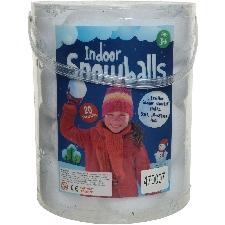 Emmer met 20x witte sneeuwballen 8 cm - sneeuwversiering kunstsneeuw/nepsneeuw