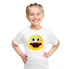 Smiley/ emoticon t-shirt geschrokken wit kinderen