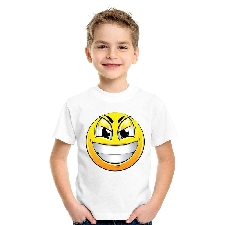 Smiley/ emoticon t-shirt ondeugend wit kinderen