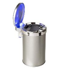 Afsluitbare metalen auto asbak zilver met LED licht 12 x 8 cm - Sigaret dovende auto asbak - auto accessoires