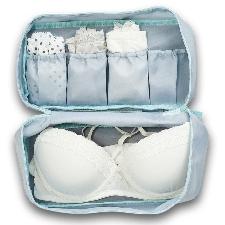 Grijs/blauw lingerie/ondergoed tasje met make-up tasje 27 cm - Zeller - Reisbenodigdheden - Camping/caravan toilettassen - Reistassen/lingerietassen/m