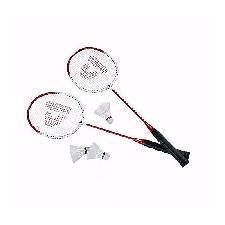 Rode badmintonrackets met shuttels
