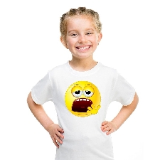 Smiley/ emoticon t-shirt moe wit kinderen