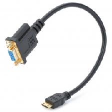 Mini HDMI Male Naar VGA Female Adapter-kabel - Zwart (30 Cm)