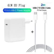 61W PD USB-C Power Adapter + 2m PD Snelladen Kabel Voor Macbook Pro / iphone - EU-stekker