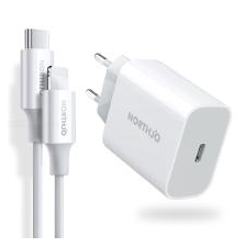 NORTHJO USB C 18W PD Lader, EU Reizen Vermogensafgifte Adapter + USB C Bliksem Kabel Data Sync-kabel