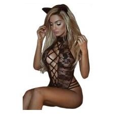 2020 Nieuwe Sexy Lingerie Hete Zwarte Kant Vrouwen Teddy Lingerie Cosplay Kat Uniform