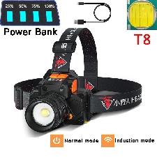 T8 wielofunkcyjny ładowalny czujnik USB latarka czołowa LED Zoom latarka czołowa wędkarska odkryty super jasny wodoodporny reflektor kempingowy